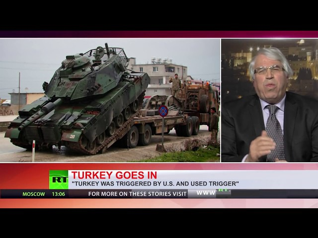 TURKEY'S AFRIN OP TANKS CROSS SYRIAN BORDER, GROUND OFFENSIVE BEGINS.