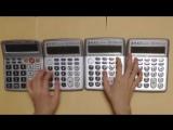 Японец сыграл тему из Super Mario Bros. на четырех калькуляторах.