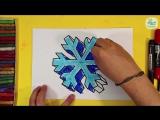 3D СНЕЖИКА  Как нарисовать 3д рисунок снежинку на Новый год