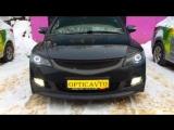 Honda Civic 4d Установка билинз morimoto 2.5 G5 Dixel Кольца на чипах Cree ДХО с поворотом Optima TDRL Покраска масок в чёрны