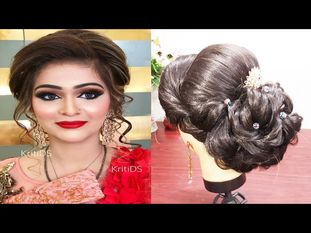 INDIAN BRIDAL HAIRSTYLE FOR MEDIUM AND LONG HAIR🌟 ENGAGEMENT HAIRSTYLE WEDDING HAIRSTYLE