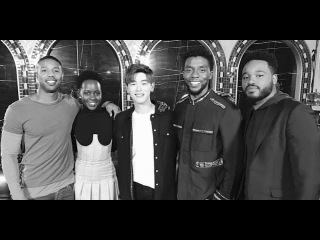 Eric Nam meets with the cast of Marvel movie 'Black Panther' at the Asia premiere in Seoul
