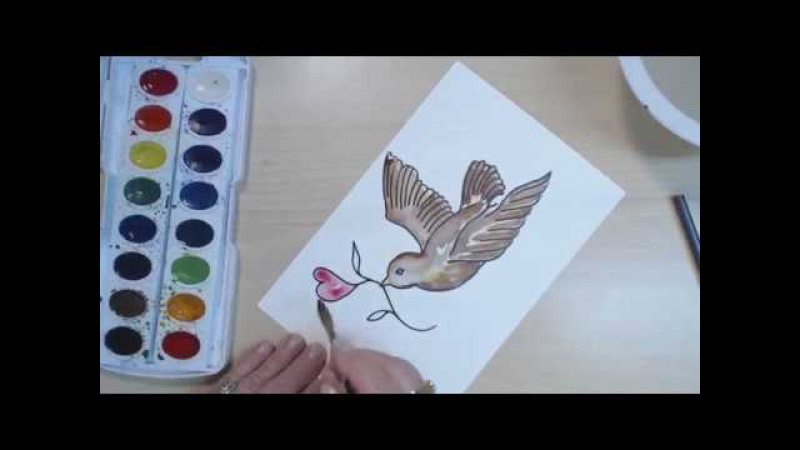 How to Draw Paint a Bird Flying - Easy - Delivering a Heart - Watercolor