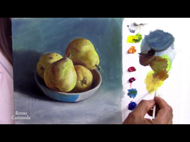 Como pintar un Bodegón con Peras