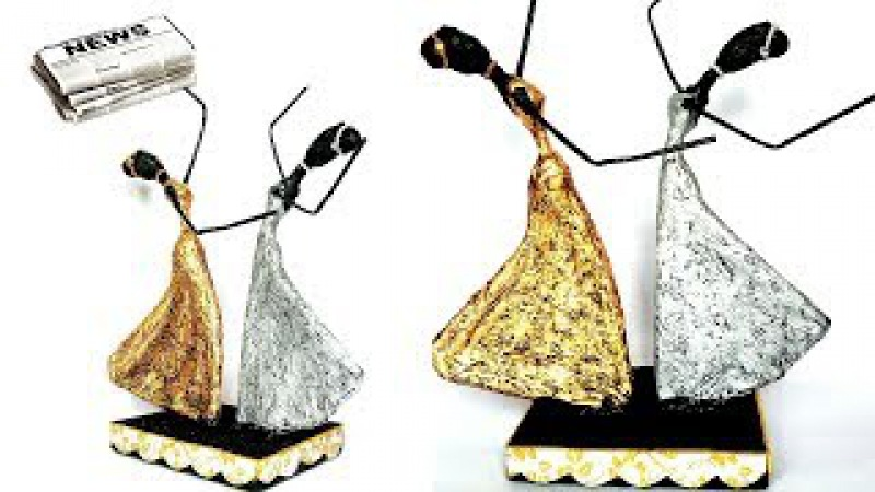 How to make dancing doll from Newspaper and Tissue paper | African doll