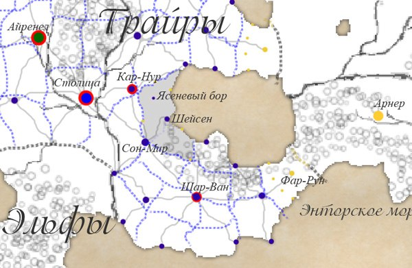 Карта мест действия