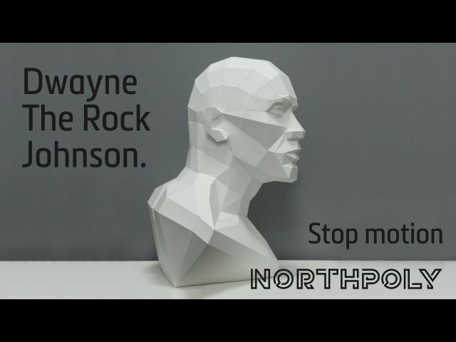 Low poly Dwayne The Rock Johnson. Papercraft. Stop motion