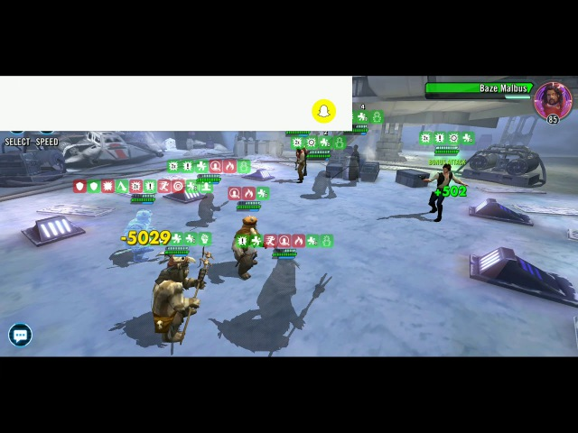 SWGoH Ewoks beating up on a Chaze team