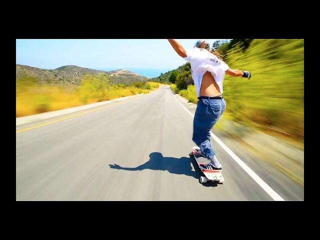 Скоростной спуск с горы на скейте
