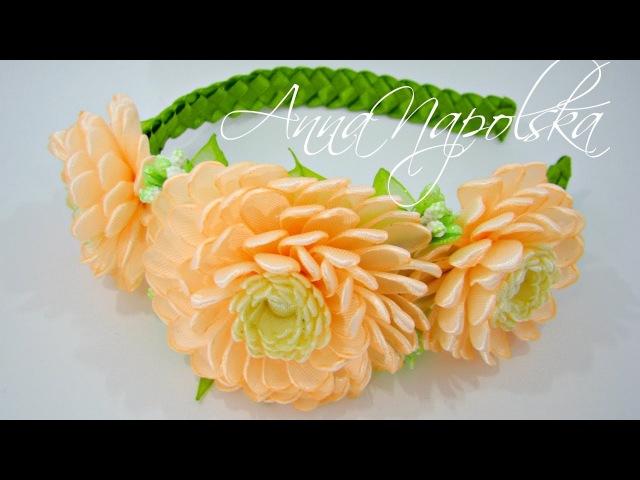 Веняний обруч з хризантемами канзаши. Весенний ободок с хризантемами. Spring headband kanzashi