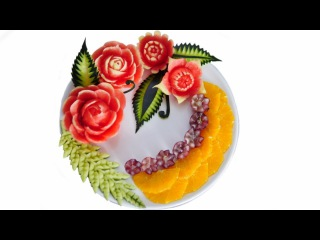 WATERMELON CARVING FLOWERS Model 7 | Fruit center | Fruit & Vegetable Carving