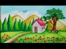 How to draw Spring season scenery with oil pastel.Step by stepeasy draw