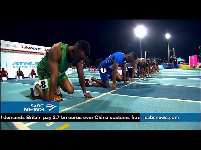 Akani Simbine wins the men's 100m Athletics Grand Prix series