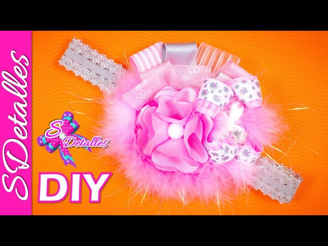 Cintillo con Banda Elástica 4 Lace and Ribbon Flower Headband 4 Video 26 SDetalles DIY