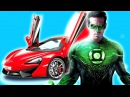 The Green Lantern Drive Supercar with SUPERHEROES Learn Yelow Black Blue and Red Colors for kids