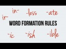 English. Word Formation. Prefixes: in, ir. Suffixes: less, ic, ish, ible, ate