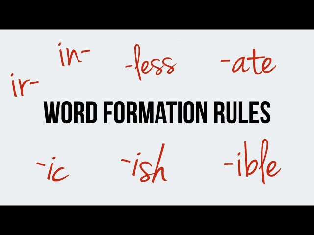 English Word Formation Prefixes in ir Suffixes less ic ish ible ate