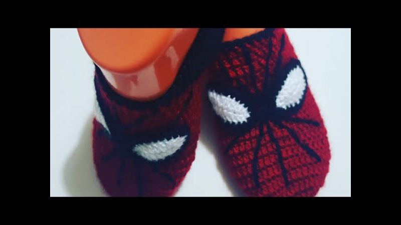 Örümcek Adamlı Çocuk Patik Yapımı