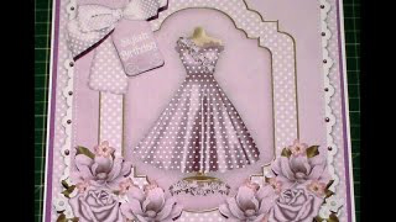 109. Card Tutorial: Stylish Lilac Dress Decoupage 8inch Card Insert