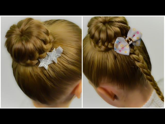 2 in 1 - Lace Braided Bun. Quick and Easy hairstyle for little pricess 42