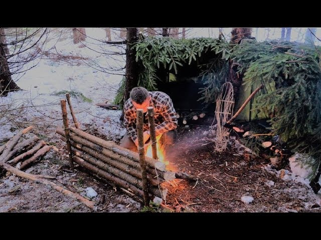 Snow Bushcraft Winter Overnighter in Double Lean-to Survival Shelter