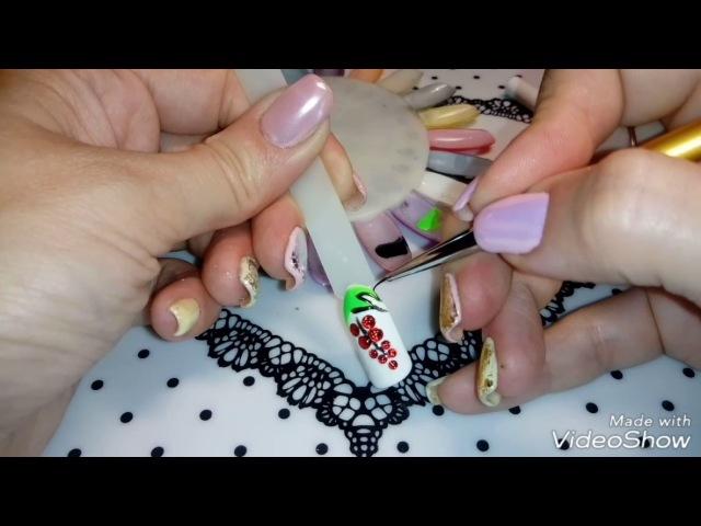 Дизайн ногтей. Красная смородина.