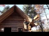 Таймлапс: парень сам строит хижину