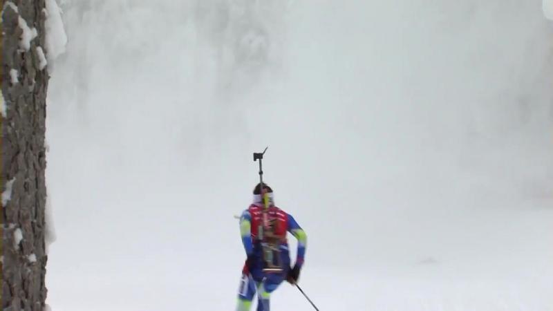 Падение снега во время женского масс-старта (Антхольц 2018)