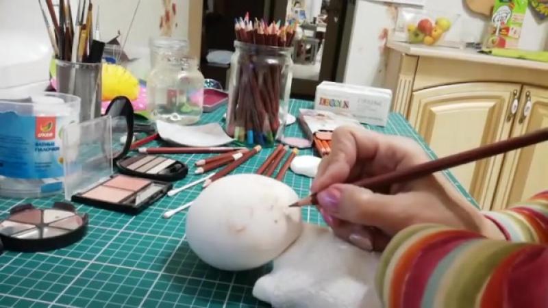 Рисуем лицо кукле. Голубые глаза 2 Автор: Светлана Саченко Интерьерные куклы