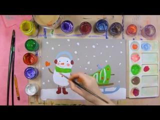 Как нарисовать снеговика с елочкой на санках - урок рисования для детей от 5 лет