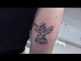 Тату-мастер Катя Маслова (small graphic tattoo angel with flowers)  | Тату - студия Дом Элит Тату (Tattoo Studio Moscow)