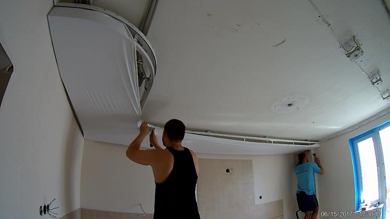Монтаж двухуровневого потолка на кухне