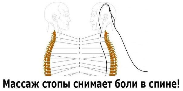 Массаж стопы снимает боли в спине!