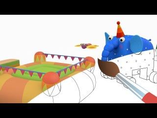 Раскраска Деревяшки - Батут - развивающие мультики для малышей - выпуск 6