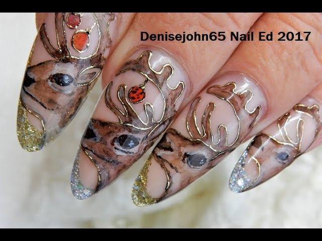Deer Nails - CUTE Christmas Deer -- Watch me Paint
