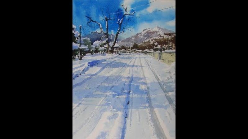 설경2018lets draw a landscape of snow choe SSi art studio최병화수채화水彩畵 -설경 그리기