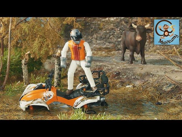 Мультик про машинки. Трактор лесовоз John Deere, квадроцикл тонет в болоте. Bruder. Манк ...