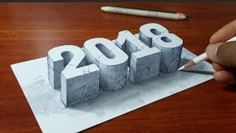 Happy New Year 2018 3D Letters Stone 2018