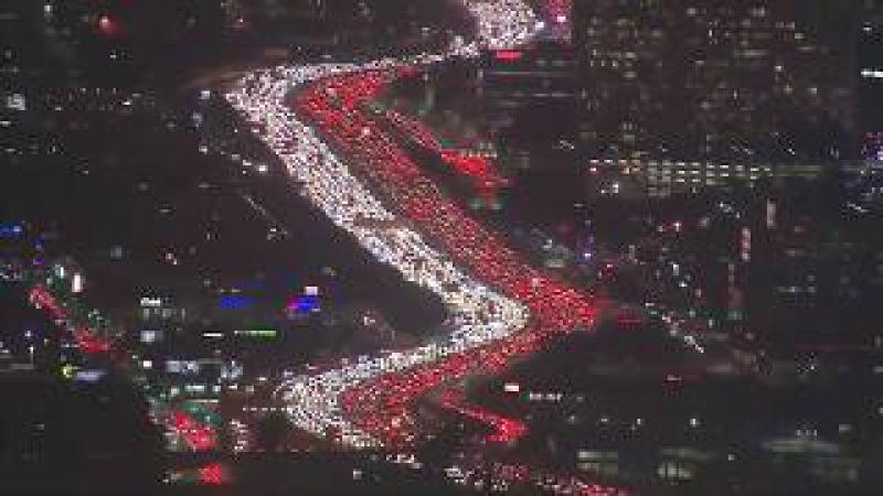 Thanksgiving Traffic Jam Los Angeles 405 Freeway at Complete standstill 11/21/2017