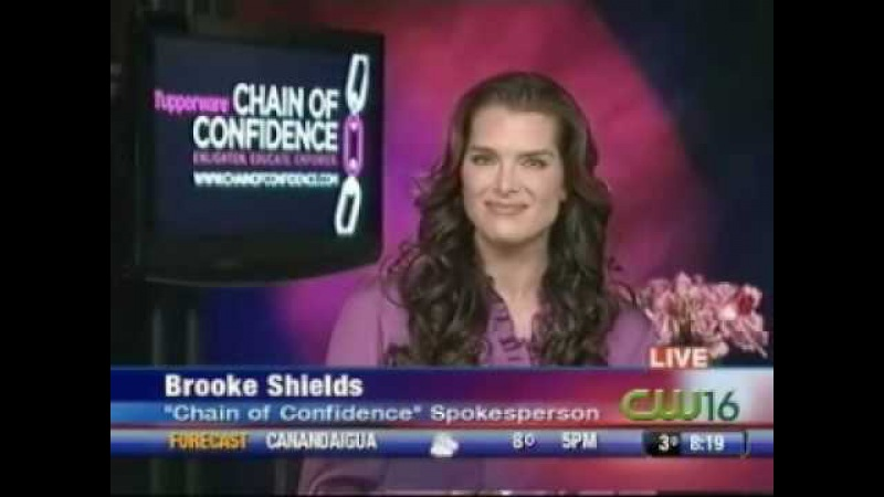 Brooke Shields promoting Tupperware's Chain of Confidence January 16 2009