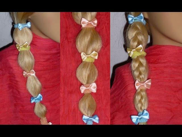 Плетение косичек для детей/девочкам.3 простых причёски с помощью резинок на кажд...