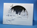 Stacked winter scene card, with partial diecutting Distress inkblending and a few boo boos