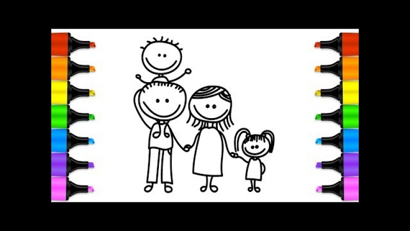 How to Draw Family Coloring Book Mom-Dad-Brother-Sister