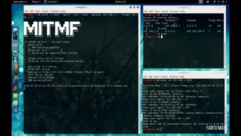 Kali Linux 2.0 Перехват паролей (MITMf) в Wi Fi сетях