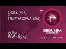 1/4 WW - 63 kg: A. TEMIRTASSOVA (KAZ) df. S. CHOI (KOR) by FALL, 4-0
