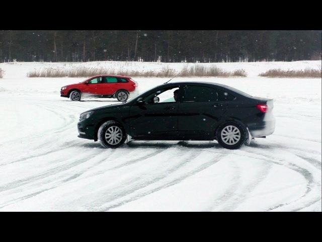 Кто победил в гонках на ледяном озере? \LADA Vesta SW Cross vs Vesta sedan