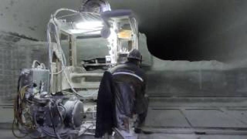 Камнерезная машина МКД на добыче соляных блоков. Соляной рудник № 7 ГП Артемсоль