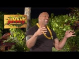 JUMANJI interviews - Dwayne The Rock Johnson, Nick Jonas, Kevin Hart, Jack Black