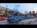 Новогодний трамвай Tatra t3 МТТЧ прицепной вагон сани Деда Мороза и олени в упряж