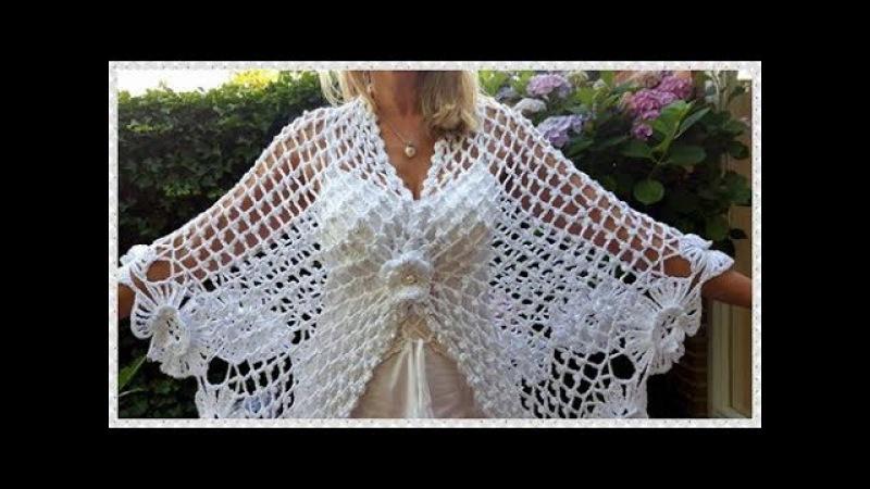 🌼2) Gehaakte omslagdoek/stola. Crochet shawl/wrap. Шаль/накидка для невесты крючком.